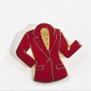 WORKAHOLIC Vintage Red Sparkle Enamel Jacket Pin